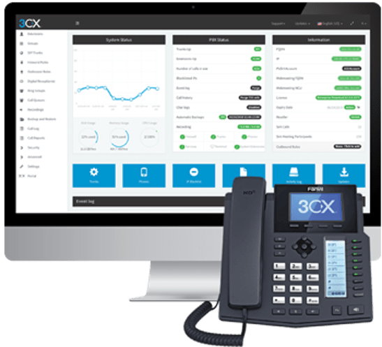3CX Graphic showing desktop and phone application